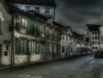 lovely street in greyscale hdr