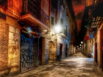 beautiful alleyway in barcelona at night hdr