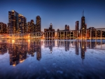 chicago lake reflections at dusk hdr