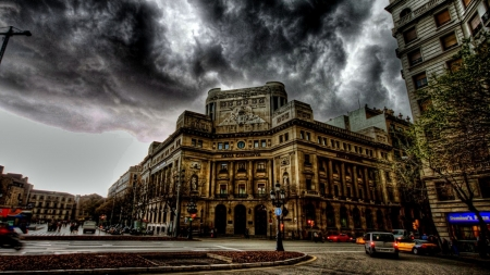 dark stormy clouds over barcelona hdr - city, intersection, hdr, clouds, stormy