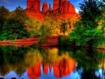 gorgeous desert mountain oasis hdr