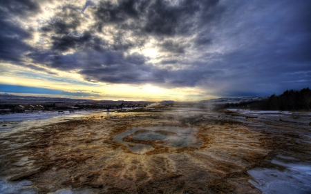 beautiful thermal geysers in iceland hdr - mineral, thermal, bench, dusk, hdr, geysers