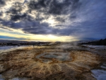 beautiful thermal geysers in iceland hdr
