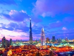 colorful dubai at sunset hdr