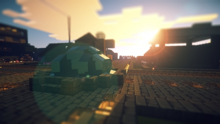 Minecraft Town Fountain - fountain, beautiful wallpaper, minecraft wallpaper, minecraft, landscape