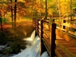 bridge over falls in autumn