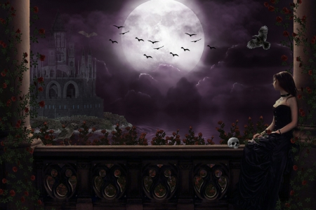 Gothic moon - moon, gothic, rose, dark