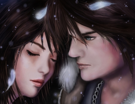 Rinoa and Squall - art, squall, game, man, woman, rinoa, girl, final fantasy 8, couple