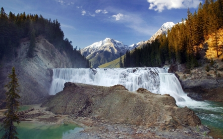 Wapta Waterfall, Yoho Nat'l. Park, Alberta - waterfall, forests, mountains, canada