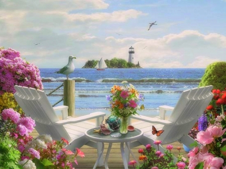Escape to the Sea - love four seasons, birds, attractions in dreams, sea, paradise, beaches, lighthouses, summer, chairs, flowers, seaside, nature, butterfly designs