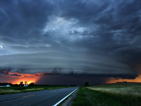 Tornado in Front - STORM, ROAD, CLOUDS, TORNADO, NATURE