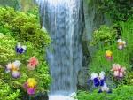 Iris Flower Beside The Waterfall