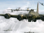 B 17 Bomber on a Mission
