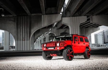 Motoring-Hummer-H2 - Custom Wheels, Red, GM, Lift