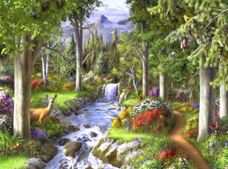 Calming Streams - love four seasons, attractions in dreams, trees, deer, parks, flowers, gardens, nature, streams, butterfly designs, falls