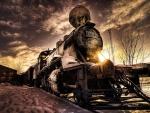 steam train in winter hdr