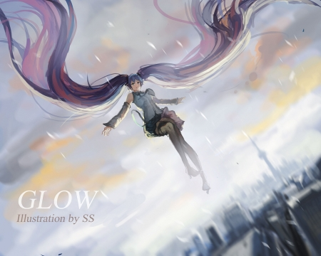 ~Glow~ - vocaloid, city, ponytails, hatsune miku, anime, long hair