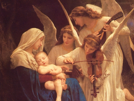 Song of the Angels by Bouguereau - pretty, wonderful, violon, paris, religious, painted, spiritual, wing, prayer, angels, christ, jesus, nice, colored, feather, virgin, beauty, face, religion, baby, cool, france, awesome, great, religiously, lord, beautiful, woman, winged, bouguereau, picture, painting, jesus christ, other, feathers, amazing, female, christianity, angel, realism, music, peace, painter, god