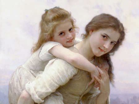 Not Too Much To Carry by Bouguereau - sensual, pretty, wonderful, paris, painted, adorable, women, nice, colored, beauty, face, lovely, cool, france, awesome, great, dreamy, beautiful, woman, elegant, bouguereau, picture, kid, painting, color, girls, light, other, amazing, female, romantic, realism, smile, girl, painter, females