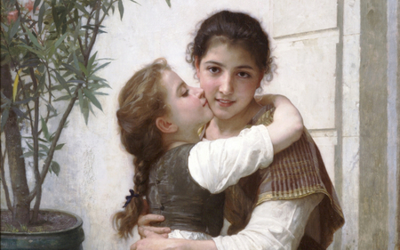 A Little Coaxing by Bouguereau - sensual, pretty, wonderful, paris, painted, adorable, women, nice, colored, love, beauty, face, lovely, hug, cool, france, awesome, kisses, great, dreamy, beautiful, woman, elegant, kiss, bouguereau, picture, painting, color, girls, light, other, amazing, female, romantic, realism, beautiful eyes, girl, painter, females