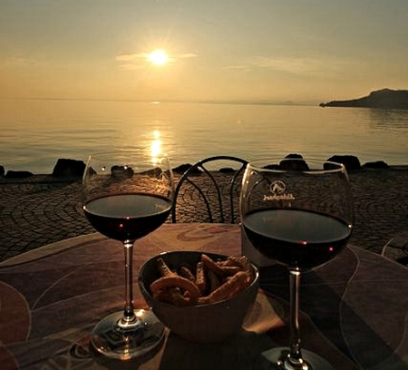 Wine and Sunset - Wine, Sunset, Nature, Water