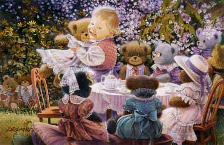 Garden Party - table, teddybears, painting, chairs, child, artwork