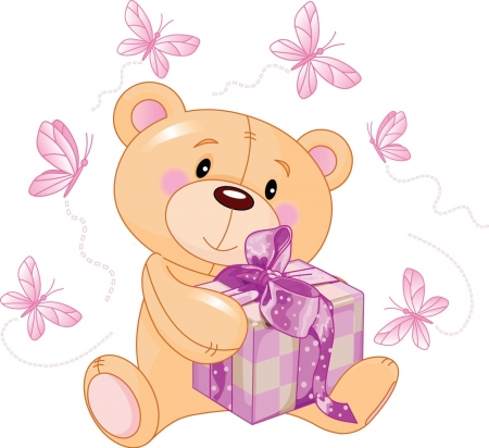 Teddy Bear Package - purple, teddy, bear, package, butterflies, vector