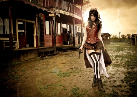 Cowgirl Exposure - art, female, models, boots, town, fun, women, guns, anime, cowgirls, girls, fashion, western, style