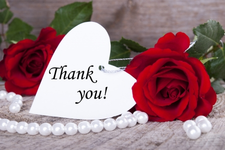 Thank You - table, red roses, thank you, heart, pearls