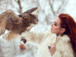 Redhead with owl