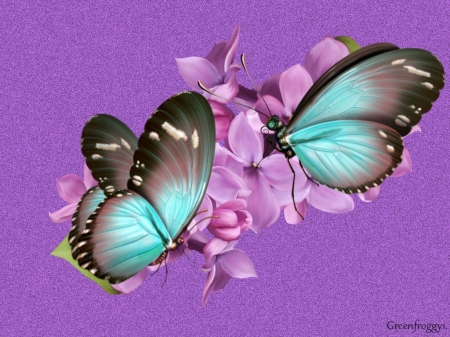 Lilacs and butterflies 3d and cg abstract background for Lilac butterfly wallpaper