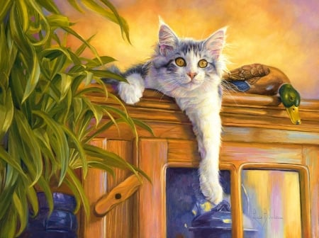 Hangin up - cabinet, kitty, plant, painting, cat, artwork
