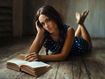 Beautiful girl and book