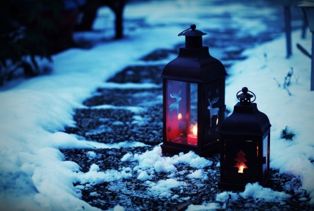 Lanterns in the snow - nATURE, Lanterns, snow, light
