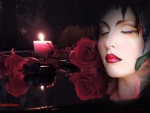 Candle, red roses, romance