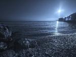 awesome seaside town in metallic hue