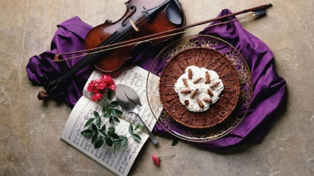 Sweet Sound of Chocolate - violin, romantic, floor, chocolate, purple silk, music notes, bow, flowers, plate, pie
