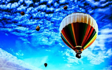 hot air balloons skyward hdr - balloons, colors, hdr, clouds, sky
