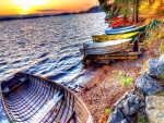 rowboats lined on a lakeshore hdr
