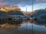 sailboat marina in a beautiful fjord