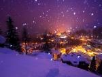 snow shower over bergamo in the italian alps