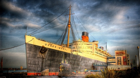the great queen mary docked in long beach hdr - submarine, cruise ship, hotel, dock, hdr