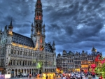 brussels grote market and town hall hdr