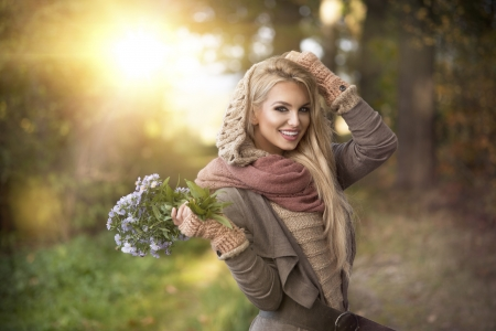 Autumn Glow - sun, bouquet, woods, flowers, beauty, trees, women