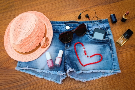 I Love Summer - ipod, table, necklace, lipstick, head phones, hat, sunglasses, girly, shorts, heart, purfume, blue jeans