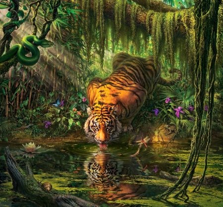 Mystical Tiger 3d And Cg Abstract Background Wallpapers On
