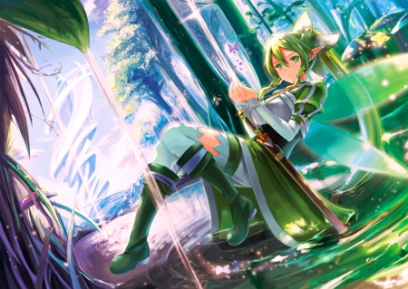Leafa - pretty, Sword Art Online, videogames, grass, boots, SAO, woods, beautiful, woman, sweet, green, anime, beauty, anime girl, long hair, fairy, art, female, wings, lovely, blonde hair, soft, girl, fairy wings, lady