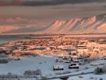 beautiful bay side town in winter
