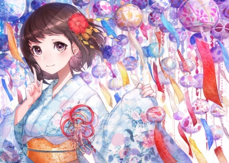 Colorful Lanterns - red, festival, yellow, beautiful, woman, purle, anime, beauty, anime girl, pink, blue, art, female, lanterns, lovely, colors, kimono, short hair, girl, flower, lady, white