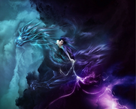 DRAGON WOMAN - DRAGON, CLOUDS, FEMALE, ELECTRIFYING, COLORFUL, SKY, NIGHT